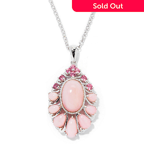 129-735 - Gem Insider Sterling Silver 18'' Pink Opal & Pink Tourmaline Pendant w/ Chain