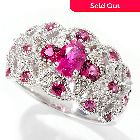 129-736 - Gem Insider™ Sterling Silver Rubellite & White Sapphire Beaded Ring