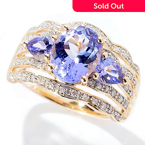 129-737 - Gem Treasures 14K Gold 2.24ctw Multi Shaped Tanzanite & Diamond Band Ring