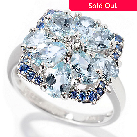 129-739 - Gem Treasures® Sterling Silver 2.47ctw Aquamarine & Sapphire Square Flower Ring