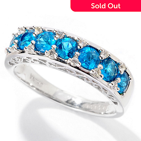 129-740 - Gem Insider™ Sterling Silver 1.06ctw Neon Blue Apatite & White Sapphire Band Ring