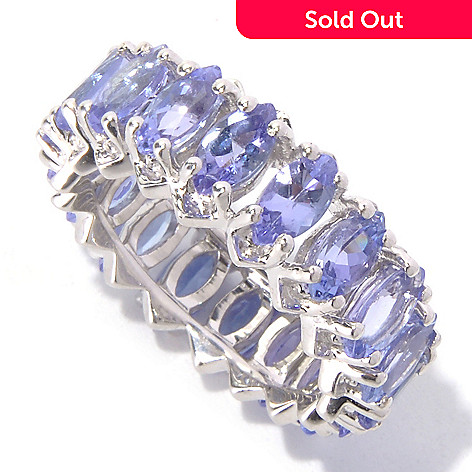 129-741 - Gem Treasures® Sterling Silver 4.59ctw Marquise Shaped Tanzanite Eternity Band Ring