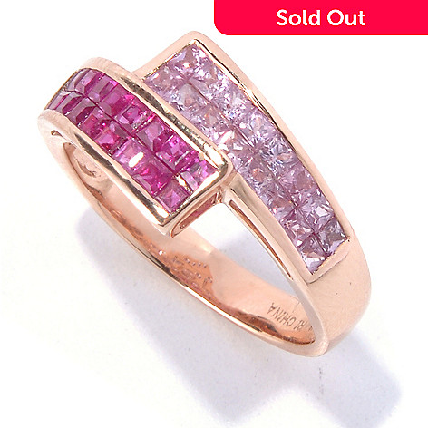 129-744 - Gem Treasures 14K Rose Gold 1.83ctw Ruby & Pink Sapphire Bypass-Style Ring