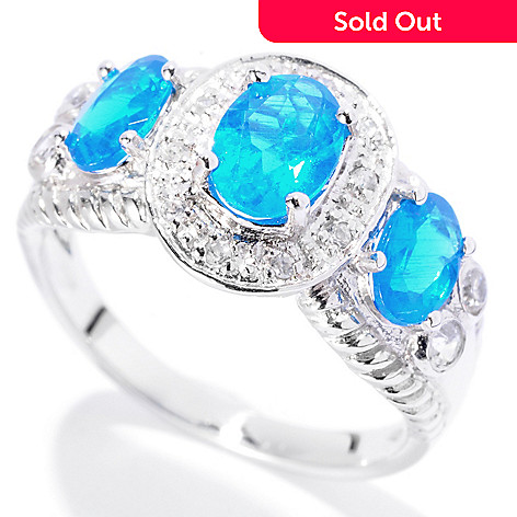 129-745 - Gem Treasures® Sterling Silver 1.52ctw Apatite & White Zircon Three-Stone Ring