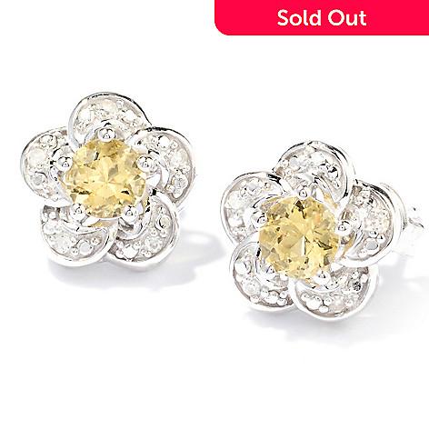 129-750 - Gem Treasures Sterling Silver Yellow Beryl & Diamond Flower Stud Earrings
