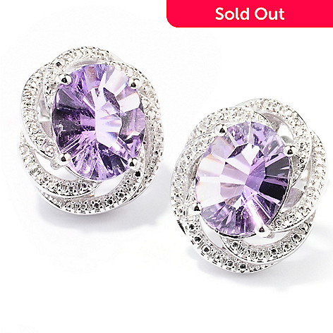 129-752 - Gem Treasures® Sterling Silver 3.00ctw Oval Amethyst Swirl Stud Earrings