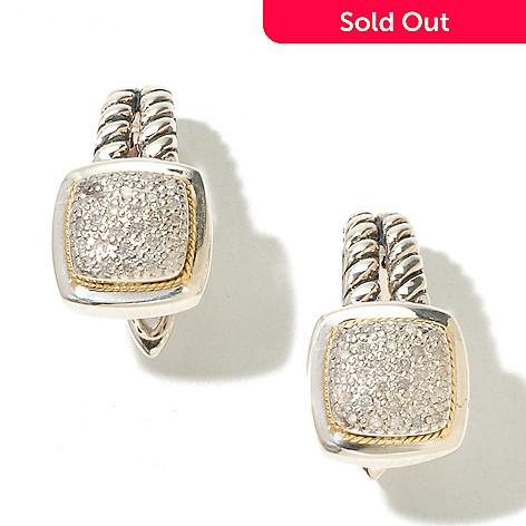 129-755 - Sterling Artistry by EFFY Two-tone 0.21ctw Diamond Drop Earrings