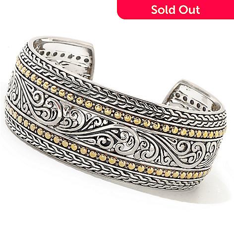 129-756 - Sterling Artistry by EFFY Two-tone 7'' Scrollwork Cuff Bracelet