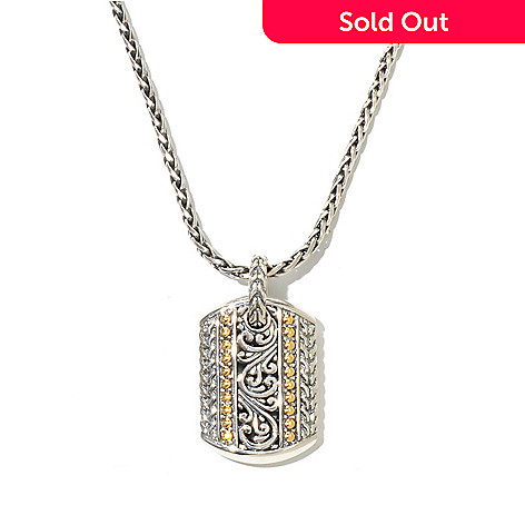 129-757 - Sterling Artistry by Effy Two-tone Scrollwork Pendant w/ 18'' Wheat Chain