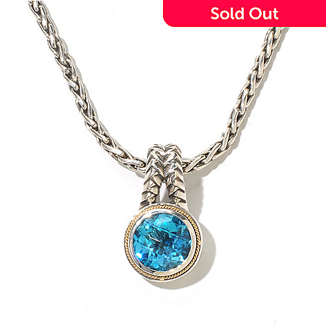 129-758 - Sterling Artistry by EFFY 4.50ctw Checkerboard Cut Blue Topaz Pendant w/ 18'' Wheat Chain