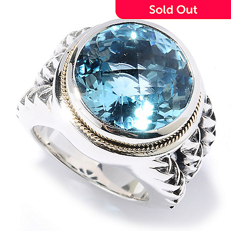 129-759 - Sterling Artistry by EFFY 12.94ctw Checkerboard Cut Blue Topaz Ring