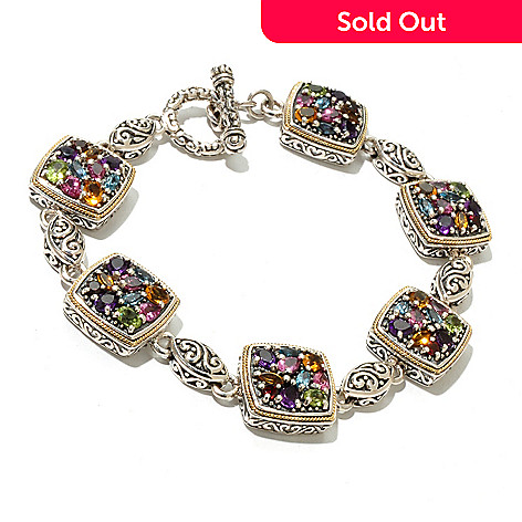 129-762 - Sterling Artistry by EFFY 8'' Multi Gemstone Toggle Bracelet