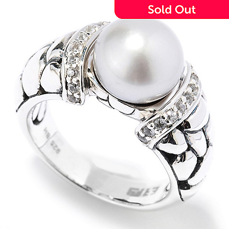 129-767 - Sterling Artistry by EFFY 9mm Grey Freshwater Cultured Pearl & Sapphire Ring