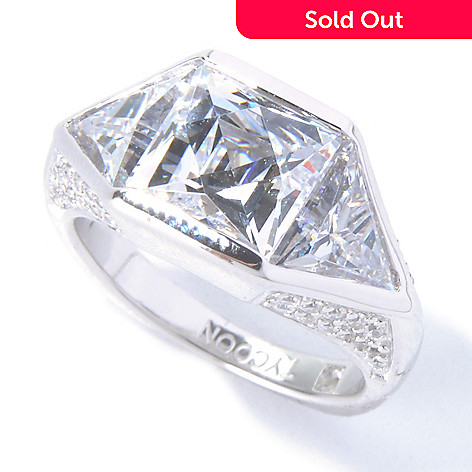 129-770 - TYCOON 5.69 DEW Platinum Embraced™ Square & Trillion Simulated Diamond TYCOON CUT Ring