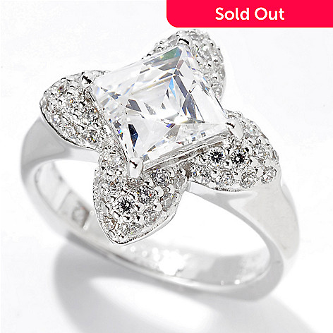 129-771 - TYCOON 2.50 DEW Platinum Embraced™ Square & Round Simulated Diamond Flower Ring
