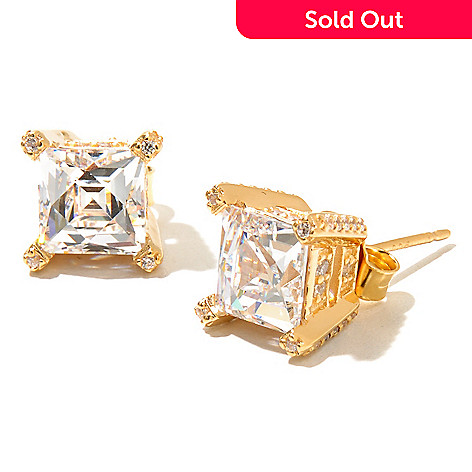 129-776 - TYCOON 4.58 DEW Fancy Pave Side Simulated Diamond Stud Earrings