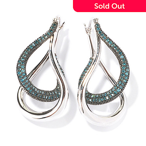 129-782 - Diamond Treasures Sterling Silver 0.75ctw Diamond Twisted Hoop Earrings