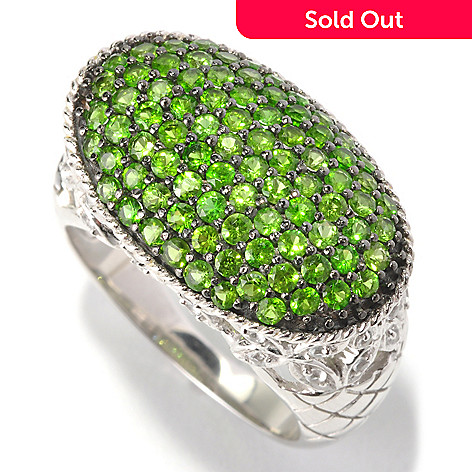 129-785 - Gem Treasures® Sterling Silver 1.55ctw Diopside & White Topaz Oval East-West Ring