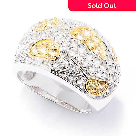 129-787 - Gem Treasures® Sterling Silver 1.70ctw Yellow Sapphire & White Topaz Wide Ring