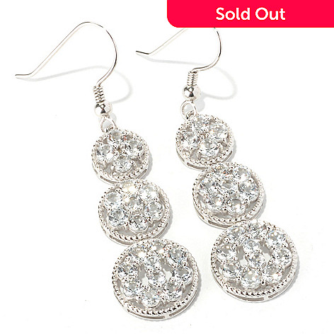 129-788 - Gem Treasures® Sterling Silver 5.00ctw White Topaz Three-Circle Drop Earrings
