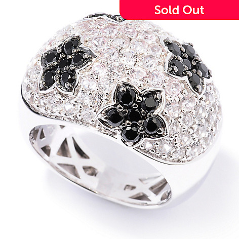 129-789 - Gem Insider™ Sterling Silver 2.38ctw White Topaz & Spinel Flower Dome Ring