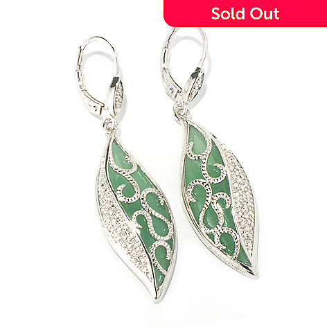 129-790 - Gem Insider™ Sterling Silver 28 x 10mm Marquise Shaped Aventurine Dangle Earrings