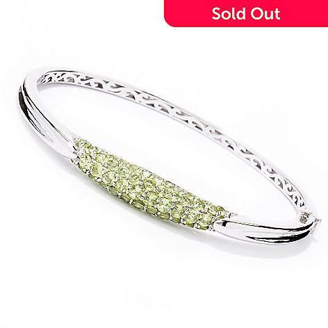 129-793 - Gem Insider™ Sterling Silver 7.5'' 3.70ctw Round Peridot Bangle Bracelet