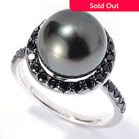 129-798 - Sterling Silver 10-11mm Black Tahitian Cultured Pearl & Black Spinel Halo Ring