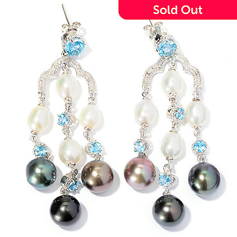129-805 - Sterling Silver 5.5-8mm Two-tone Cultured Pearl & Topaz Chandelier Earrings