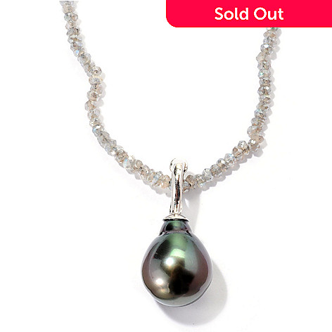 129-811 - Sterling Silver 12-13mm Exotic Cultured Pearl Enhancer w/ 36'' Gem Chip Necklace