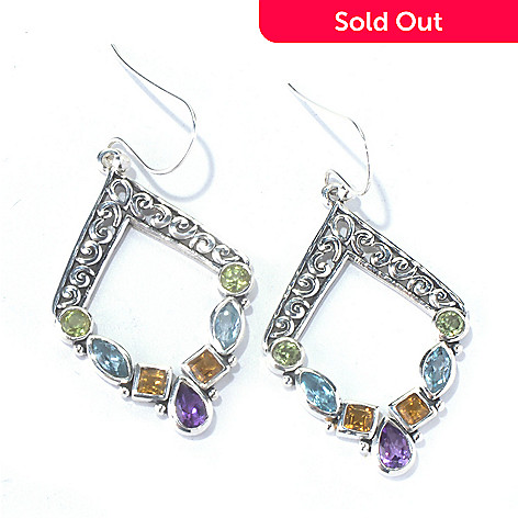 129-821 - Artisan Silver by Samuel B. 1.75'' 2.14ctw Multi Gem Diamond Shaped Drop Earrings