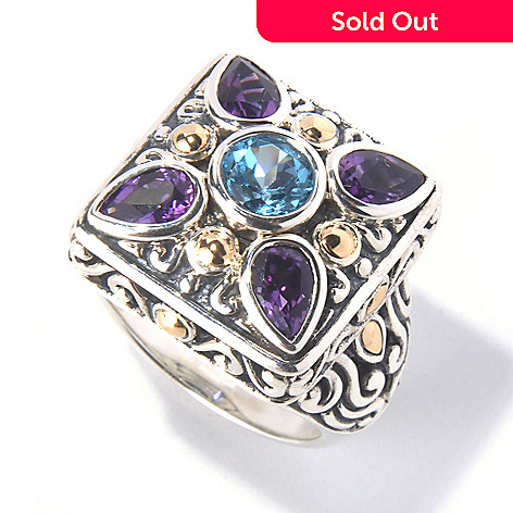 129-825 - Artisan Silver by Samuel B. 2.24ctw Amethyst & Swiss Blue Topaz Square Ring