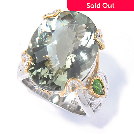 129-827 - Gems en Vogue 16.26ctw Prasiolite & Chrome Diopside Ring