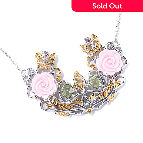 129-831 - Gems en Vogue II 20'' Queen Conch Shell, Pink Sapphire & Peridot Garden Necklace