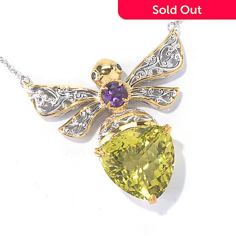 129-834 - Gems en Vogue 18'' Ouro Verde, Amethyst, Ruby & Sapphire Critter Necklace