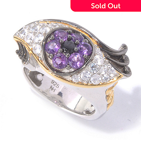 129-836 - Gems en Vogue 1.49ctw Amethyst, White Zircon & Black Spinel Eye Ring
