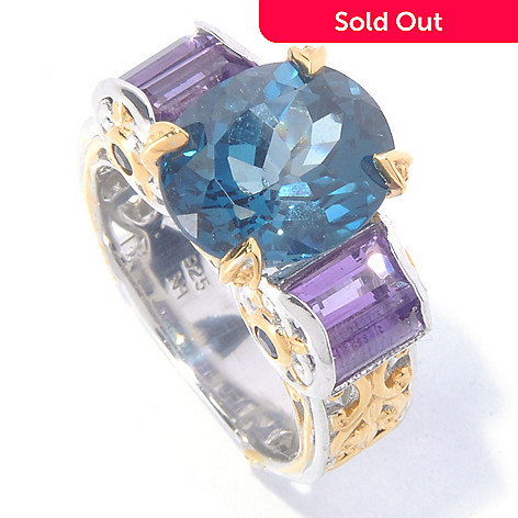 129-837 - Gems en Vogue II 7.20ctw London Blue Topaz, Amethyst & Sapphire Ring