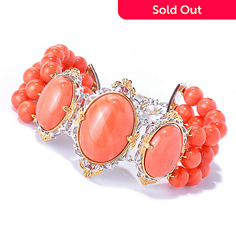 129-838 - Gems en Vogue Bamboo Coral & Orange Sapphire Beaded Three-Row Toggle Bracelet