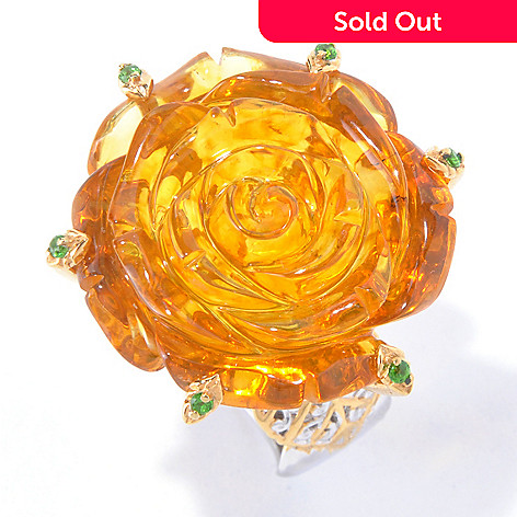 129-840 - Gems en Vogue 25mm Carved Amber Rose & Chrome Diopside Ring