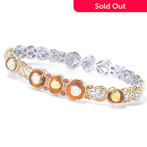 129-843 - Gems en Vogue 7.25'' Carved Amber Rose Intaglio & Orange Sapphire Bangle Bracelet