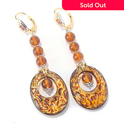 129-844 - Gems en Vogue Carved Amber Filigree, Amber Bead & Orange Sapphire Earrings