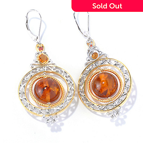 129-845 - Gems en Vogue  2.25'' Amber Bead, Madeira Citrine & Orange Sapphire Drop Earrings