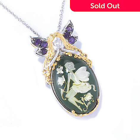 129-846 - Gems en Vogue Carved Green Amber Fairy Intaglio & Amethyst Pendant w/ Chain