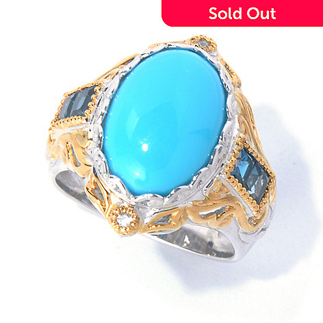 129-847 - Gems en Vogue Sleeping Beauty Turquoise, London Blue Topaz & White Sapphire Ring
