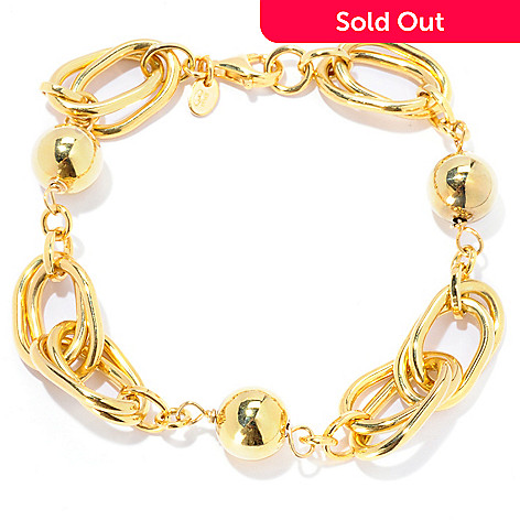 129-855 - Portofino Gold Embraced™ 8'' Fancy Oval & Beaded Link Bracelet