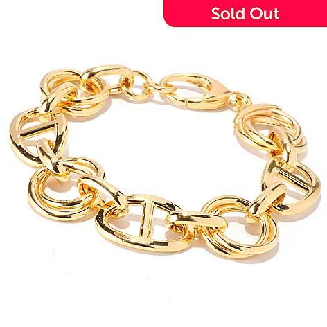 129-857 - Portofino 18K Gold Embraced™ 8'' Electroform Mariner Link Bracelet