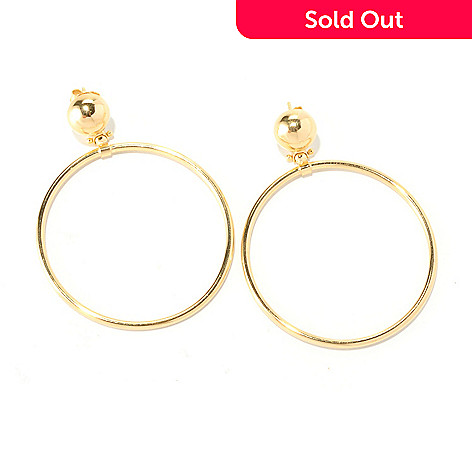 129-859 - Portofino 18K Gold Embraced™ High Polished Front Facing Hoop Earrings