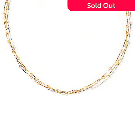 129-861 - Portofino Gold Embraced™ 18'' Triple Strand Fancy Link Station Necklace