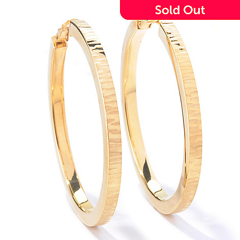 129-864 - Portofino 18K Gold Embraced™ Textured Square Edge Hoop Earrings