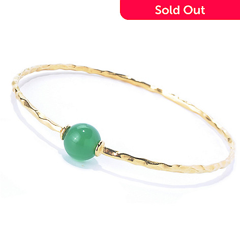 129-869 - Portofino Gold Embraced™ 8'' Gemstone Station Hammered Bangle Bracelet